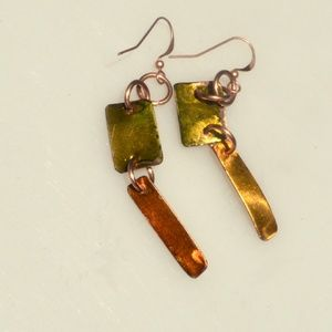 Conceptual Subculture Jewelry - Chartreuse Green Yellow Solid Copper Drop Earrings